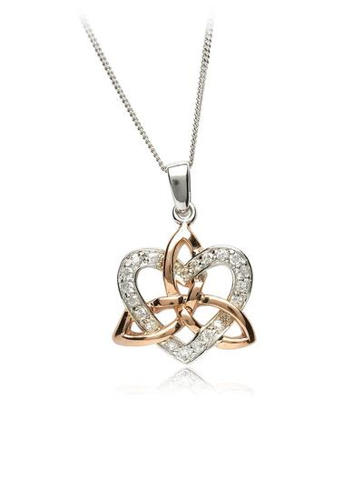 Celtic Trinity and Heart Cubic Zirconia Pendant