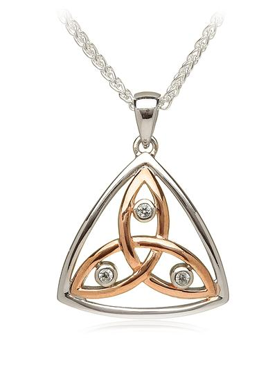Silver & Rose Gold Trinity Knot Cubic Zirconia Pendant
