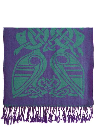 Purple & Green Two-Tone Wool Scarf