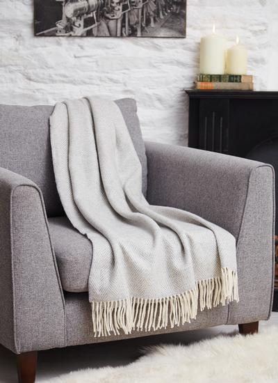 Pearl Grey Herringbone Wool Cashmere Throw