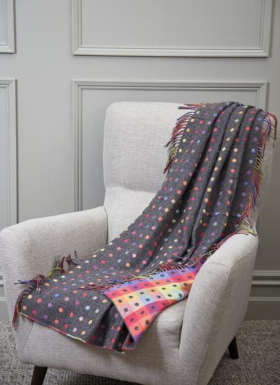 Polka Dot Lambswool Knee Throw