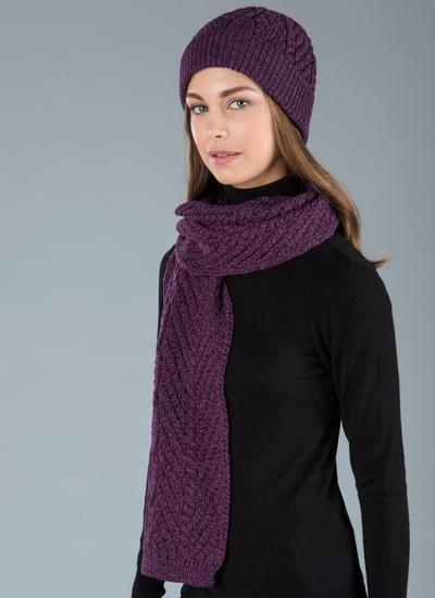 Unisex Cable Scarf - Purple Marl