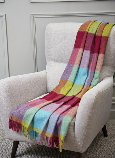 Rainbow Block Check Lambswool Throw