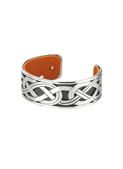 Rhodium & Leather Narrow Celtic Bangle
