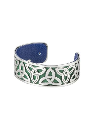 Rhodium & Leather Narrow Trinity Bangle