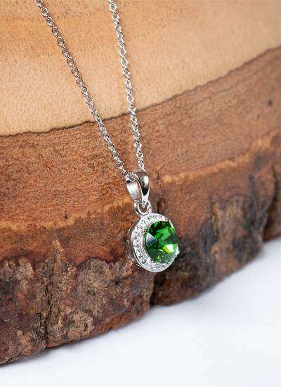 Round Halo Pendant Adorned With Green & White Swarovski Crystals