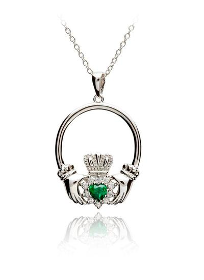 Silver Claddagh Green Stone Set Pendant