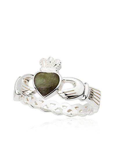 Connemara Marble Claddagh Weave Ring