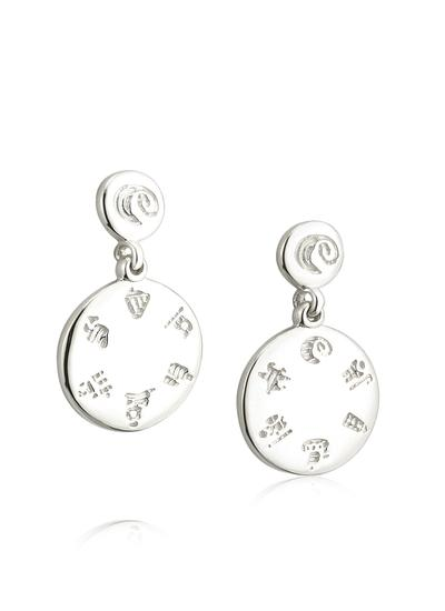 Sterling Silver History of Ireland Round Drop Earrings