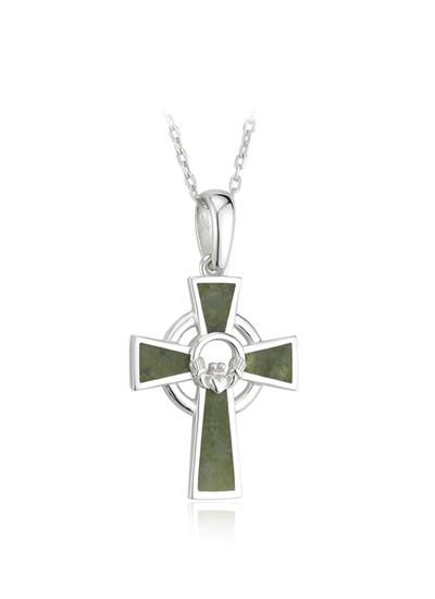 Small Claddagh Connemara Sterling Silver Cross Pendant