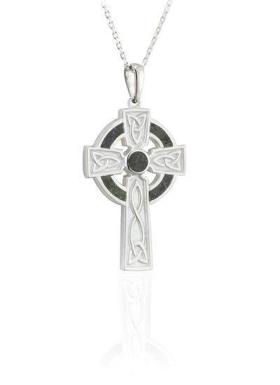 Sterling Silver Connemara Marble Small Celtic Cross