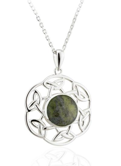 Sterling Silver Connemara Marble Open Celtic Pendant