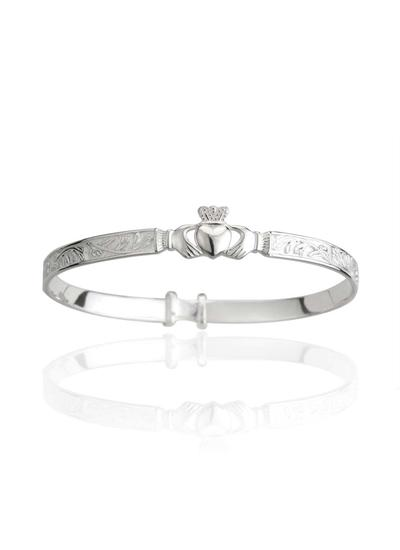 Sterling Silver Celtic Claddagh Baby Bangle
