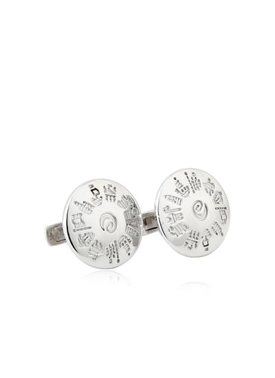 Sterling Silver History of Ireland Round Cufflinks