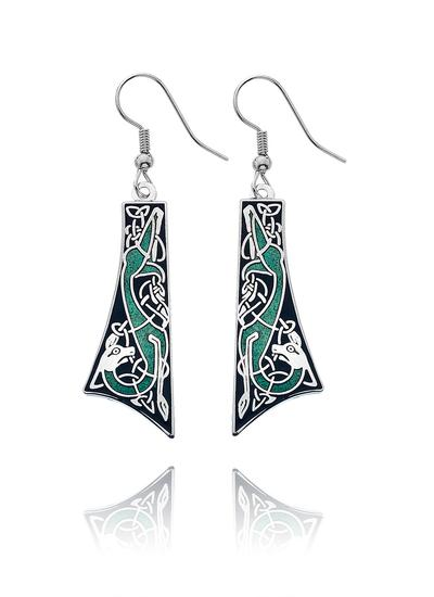 Celtic Dog Enamel Drop Earrings