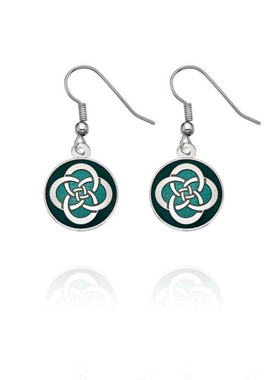 Celtic Knot Enamel Round Earrings