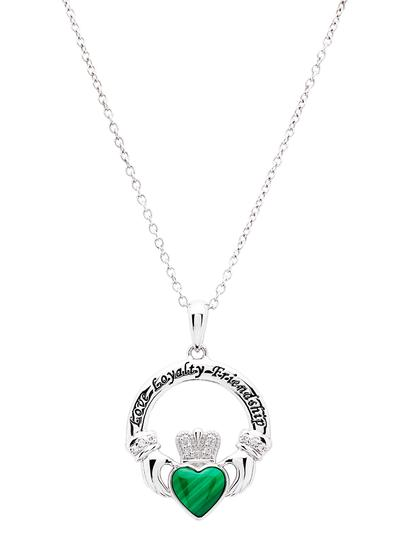 Sterling Silver Malachite Claddagh Pendant