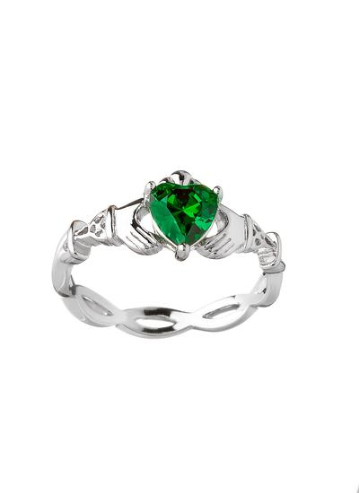 Sterling Silver Green Stone Claddagh Ring