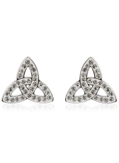Trinity Knot Stud Earrings Adorned With Swarovski Crystals