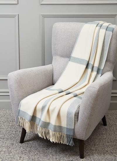 Sage Windowpane Wool Cashmere Throw