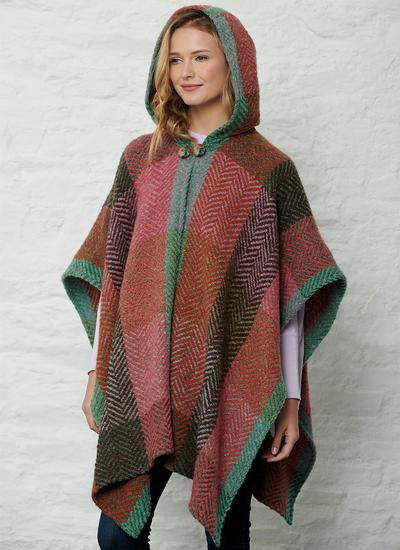 Sarah Hooded Cape Multi Coral