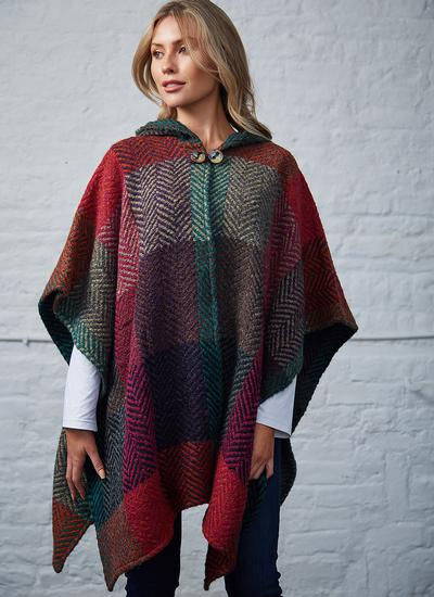 Sarah Hooded Cape Multi Mulberry Herringbone