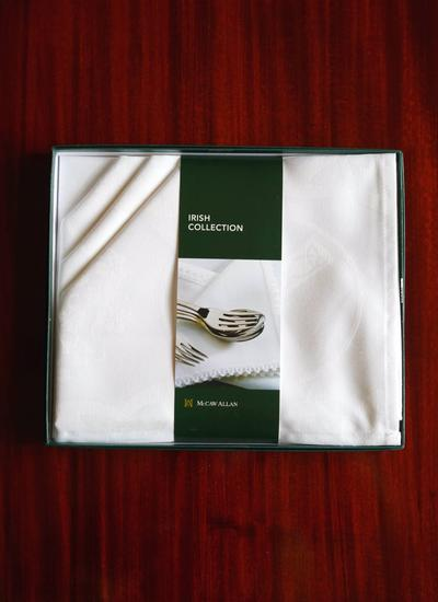 White Shamrock Damask Linen Union Napkins Set of 4