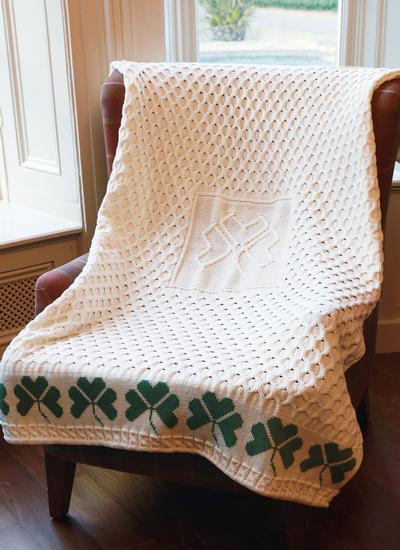 Shamrock Wool Aran Throw