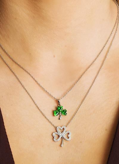 Open Shamrock Pendant Embellished With Swarovski Crystals