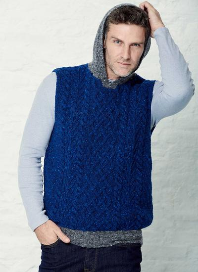 Sleeveless Hooded Aran Sweater