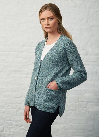Fisherman Slouchy Donegal Fleck V-Neck Cardigan