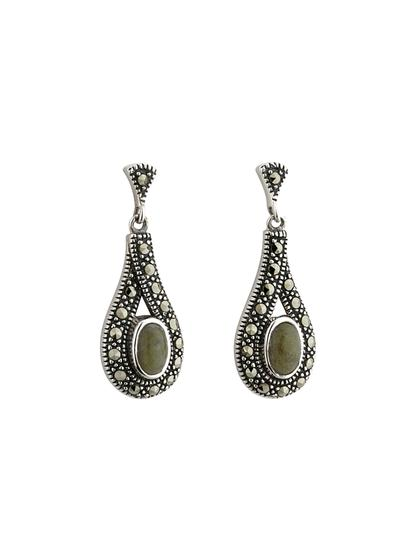 Sterling Silver Connemara Marble & Marcasite Earrings