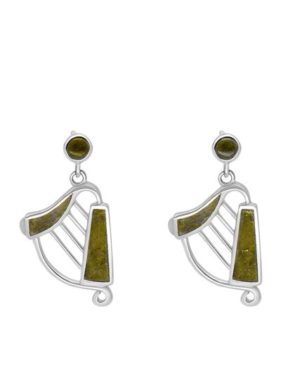 Sterling Silver Connemara Marble Harp Earrings