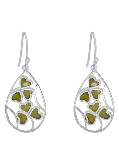 Sterling Silver Connemara Marble Shamrock Earrings