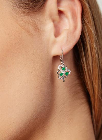 Sterling Silver Cubic Zirconia Shamrock Earrings