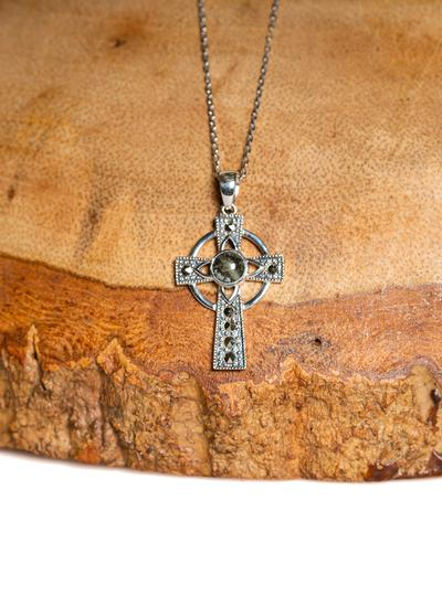 Sterling Silver Marble Marcasite Celtic Cross Pendant