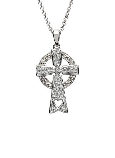 Sterling Silver Celtic Heart Cross Adorned with Swarovski Crystals