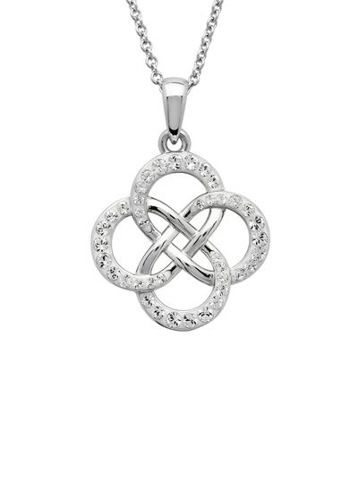 Sterling Silver Celtic Infinity Pendant Adorned With Swarovski Crystals