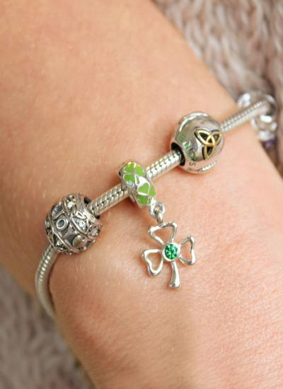 Sterling Silver Celtic Shamrock Drop Bead