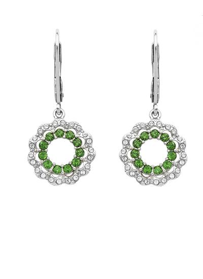 Sterling Silver Circular Halo Earrings Adorned With Swarovski Crystals