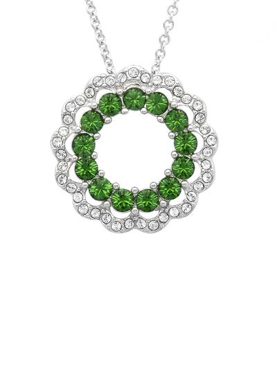 Sterling Silver Circular Pendant Adorned With Swarovski Crystals
