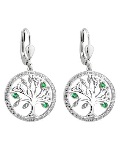 Sterling Silver Crystal Illusion Tree of Life Earrings