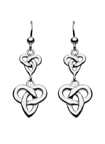 Sterling Silver Double Trinity Knot Drop Earrings