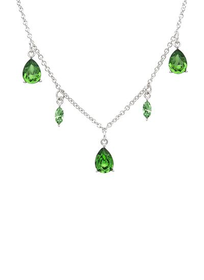 Sterling Silver Drop Pendant Adorned With Peridot Swarovski Crystals