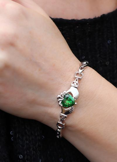 Sterling Silver Green Stone Claddagh Bangle