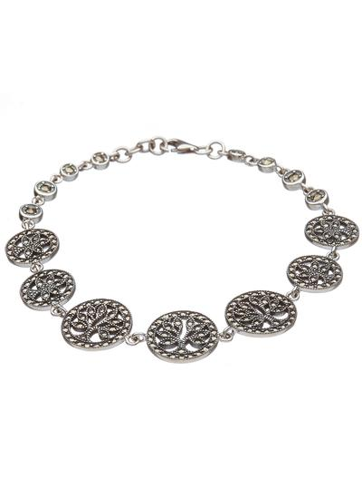 Sterling Silver Marcasite Tree of Life Bracelet