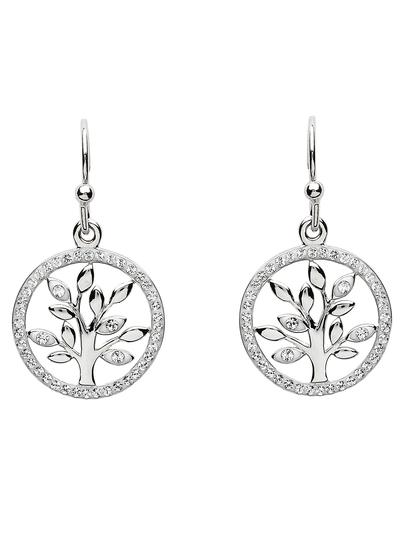 Sterling Silver Tree of Life Earrings Encrusted with Swarovski Crystals