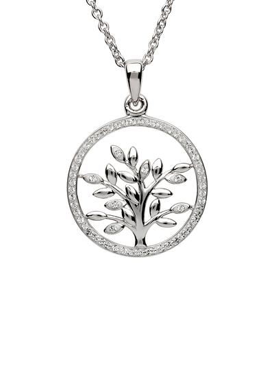 Sterling Silver Tree of Life Pendant Encrusted with Swarovski Crystals