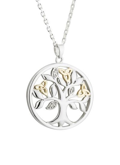 Sterling Silver & 10K Gold Diamond Tree of Life Pendant