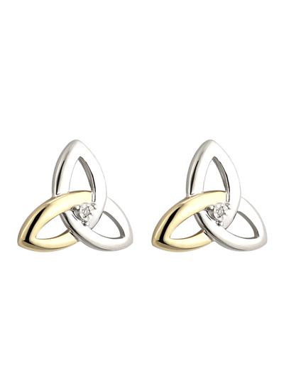 Sterling Silver & 10K Gold Diamond Trinity Knot Stud Earrings